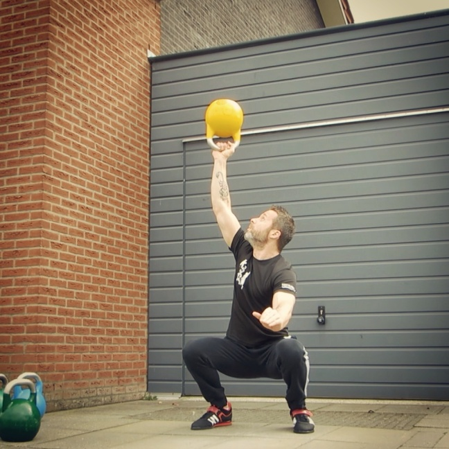 Kettlebell Bottom Up Overhead Squat