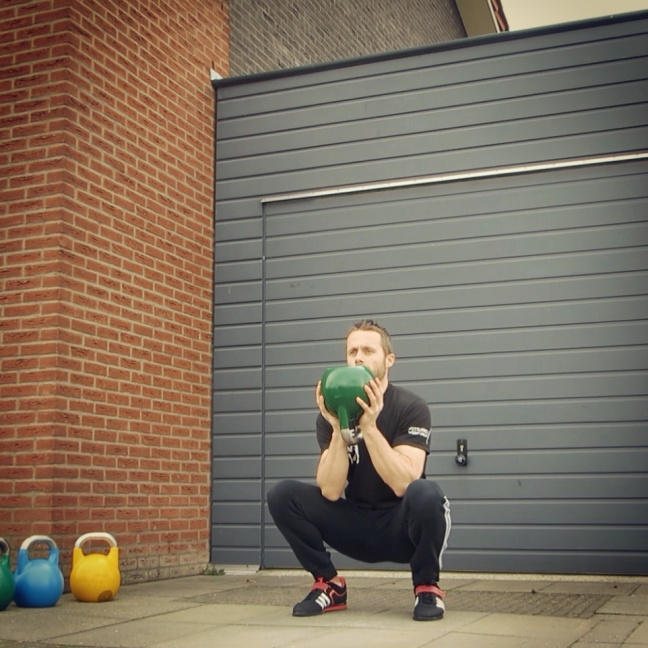 Kettlebell Globlet Squat Open Palm