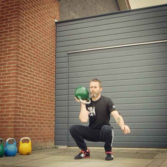 Kettlebell Open Palm Squat