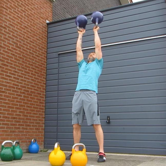 Kettlebell Double Bottom Up Press