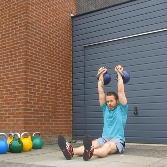 Kettlebell Double Seated Press