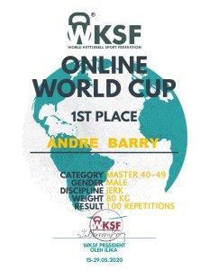 WKSF Online World Cup Certificaat Barry Andre