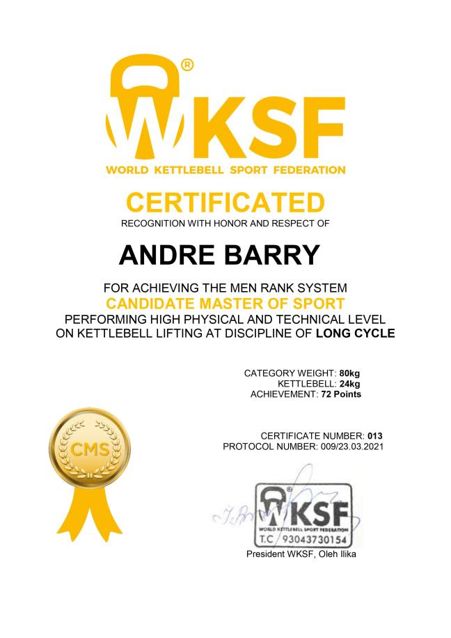 Candidate Master of Sport - Barry Andre - Kettlebell LongCycle